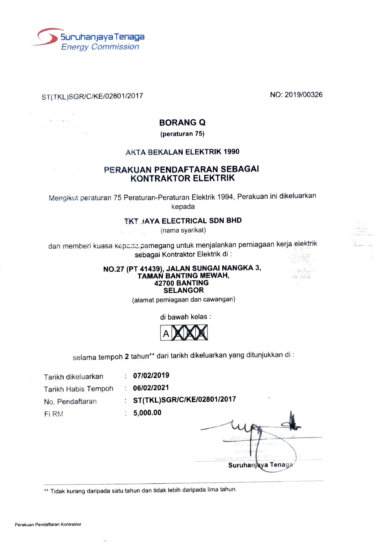 Documents Tkt Jaya Electrical